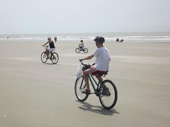 biking on the beach on kiawah island